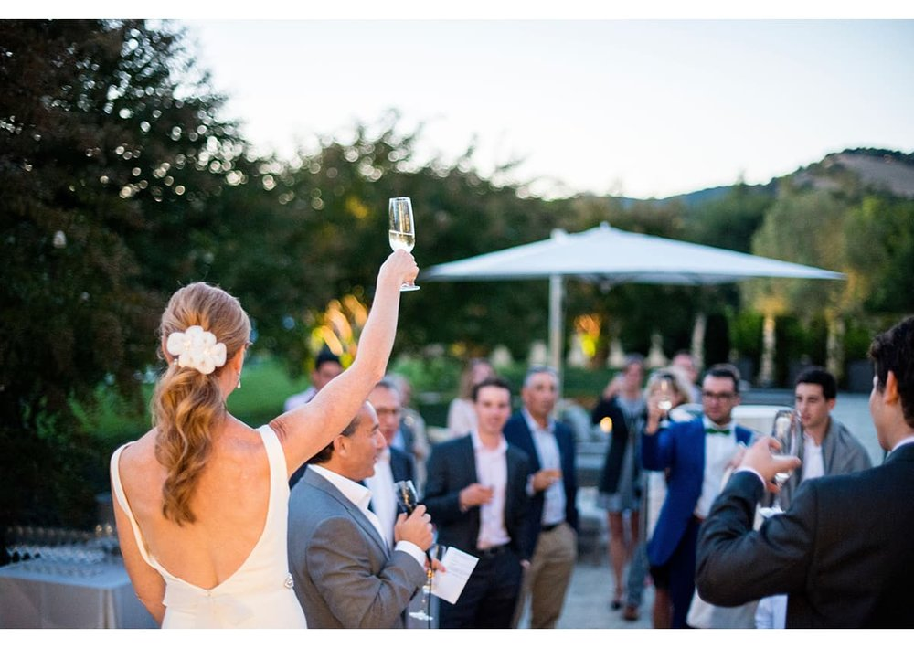 Bride raising her glass to wedding guests