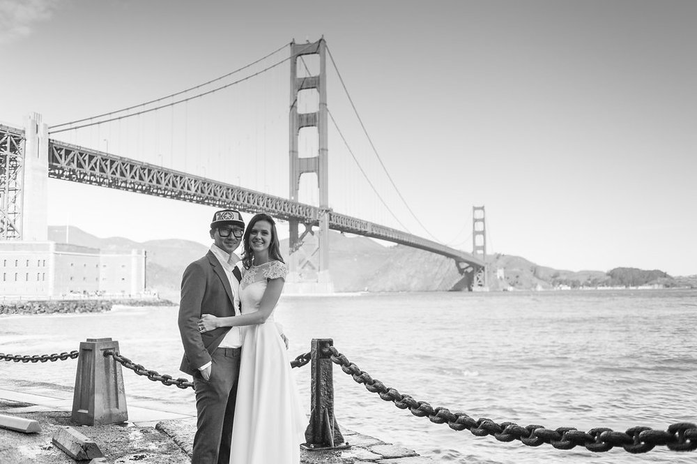 Couple Portraits at Fort Point beneath Golden Gate Bridge