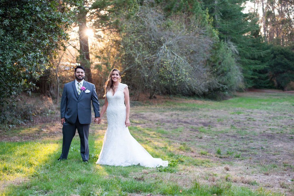 Bride and Groom in Tilden Park at sunset