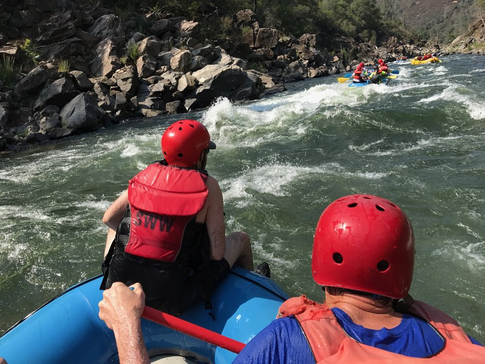 Some commercial outfits are up over a 150% on sales in comparison to 2016. The huge snow-pack has made 2017 one of the best rafting years on record for the South Fork American. We flowed the river at 1600 CFS. In the Spring the river can have 5 times as much water.