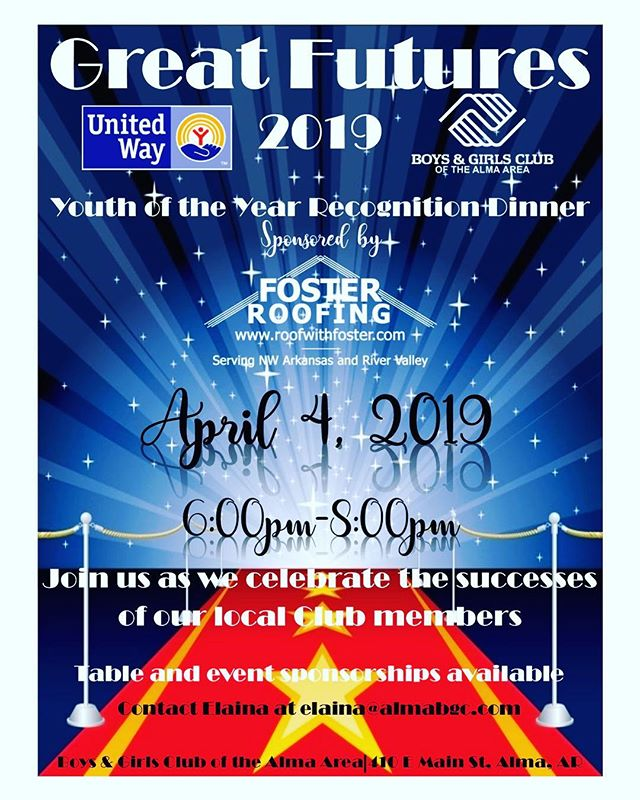 Come join us at our Youth of the Year Dinner on April 4! Contact the Club for table and sponsorship information. We hope to see you there! #almabgc #GreatFutures2019