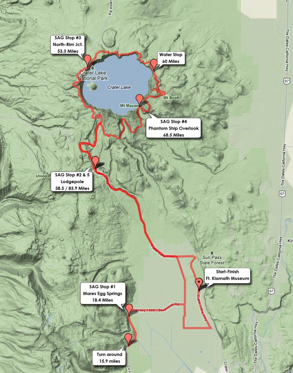 Crater Lake Century Bike Ride Century Ride Map Profile