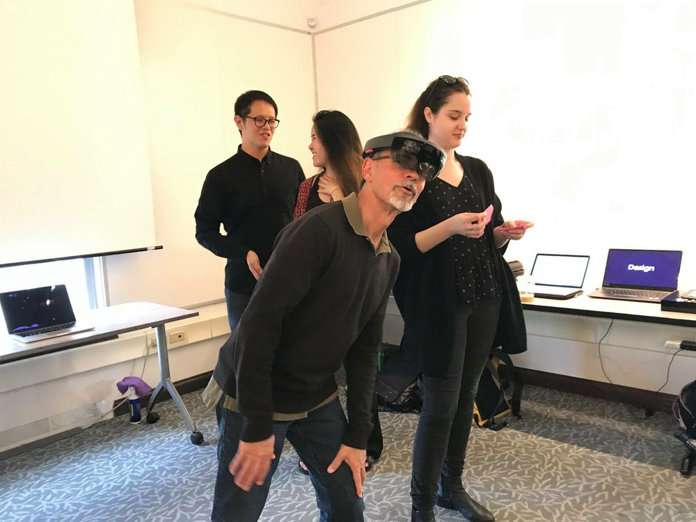 DEMO - A short presentation and Demo were held in the last class. Most people found the project interesting.Gesture control of Hololens is intuitive but not quite handy yet. We are still physical being and prefer to have something touchable to control the system.