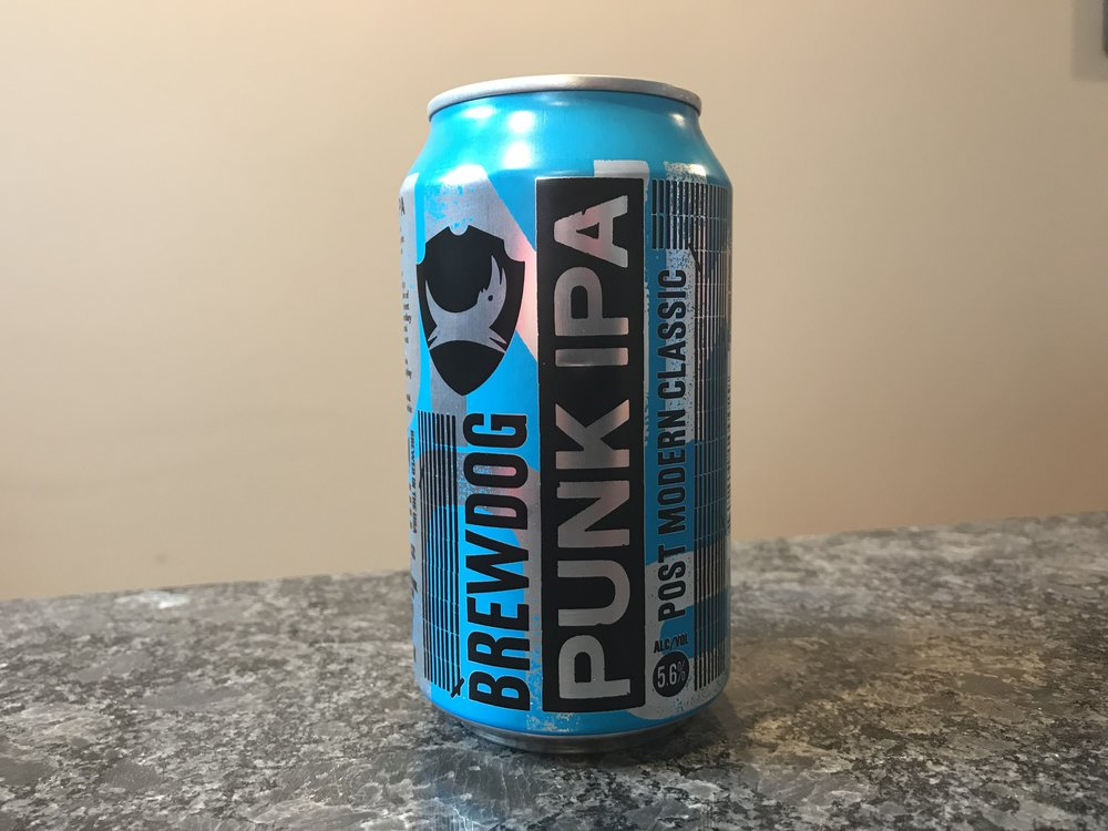 BrewDog Punk IPA   5.6% ABV 35 IBUs. Punk IPA is a post modern classic. Spiky, Tropical and Hoppy. Click on the image to see my full review of this craft beer.