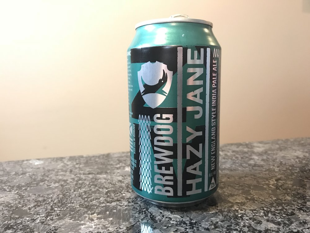 BrewDog Hazy Jane NE IPA   7.2% ABV 35 IBUs. Hazy Jane is an NE IPA. This craft beer is a vermont style IPA. Click on the image to see my full review of this craft beer.