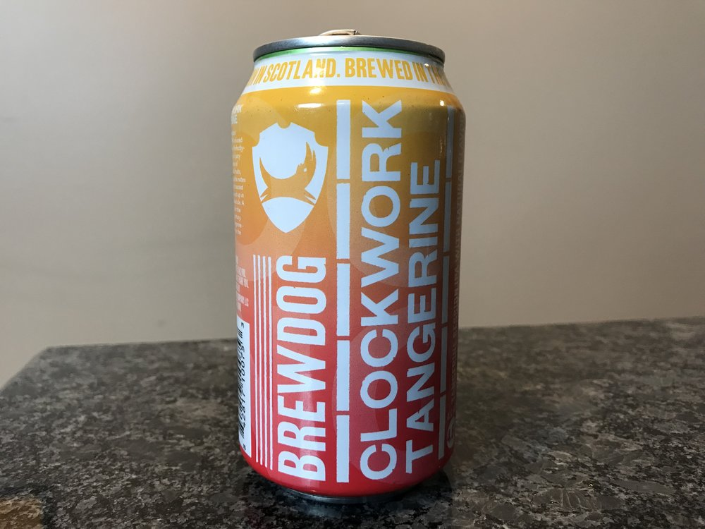 BrewDog Clockwork Tangerine   4.5% ABV. Clockwork Tangerine is an IPA in style. Juicy citrus hit and mellow tropical notes. Click on the image to see my full review of this craft beer.