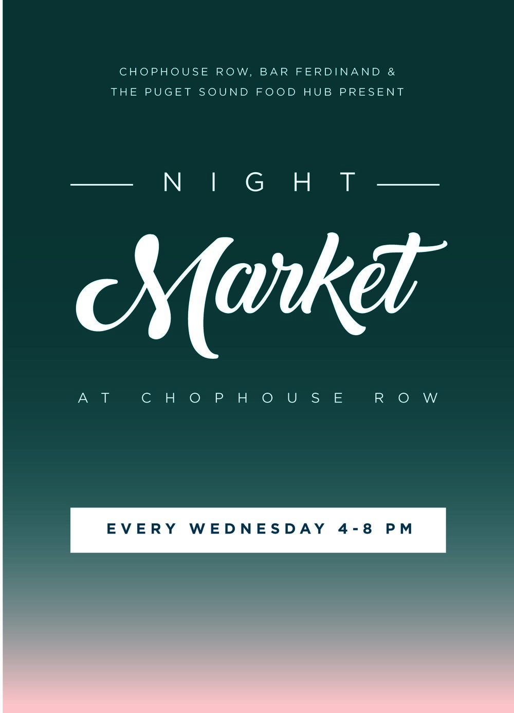 Night Market  Every Wednesday night James Beard Award winning chef Matt Dillon fills our Chophouse Row courtyard with farms and food.