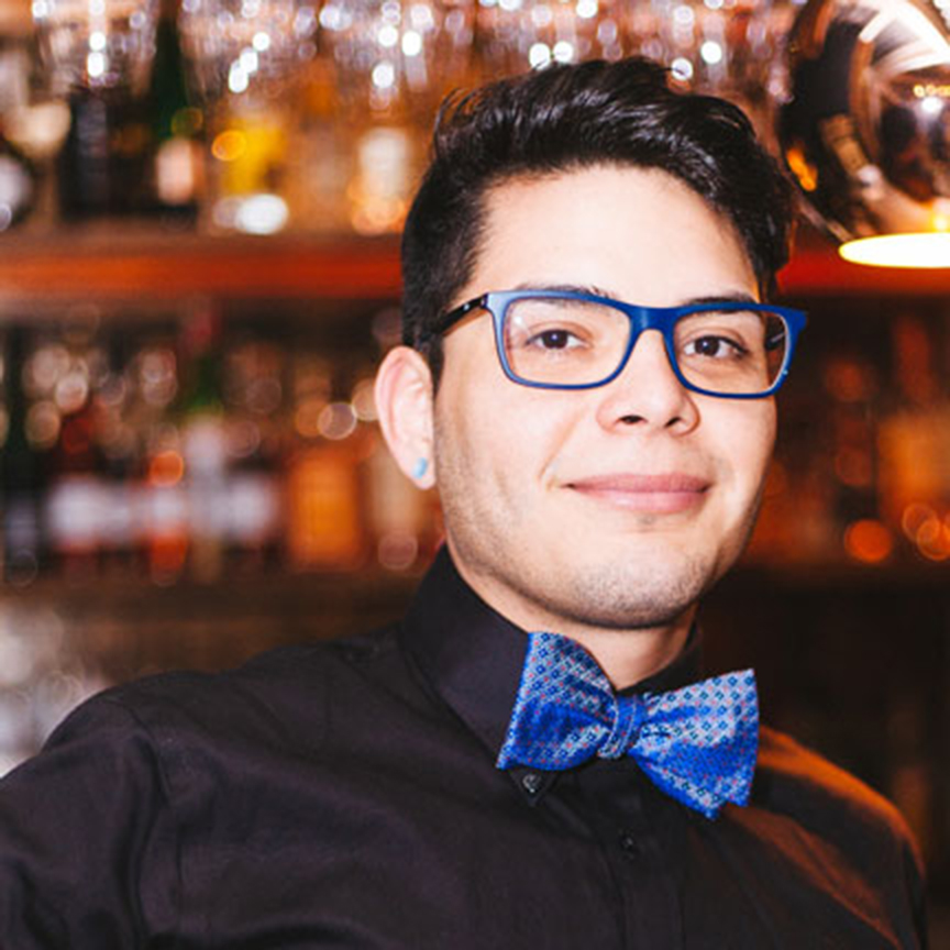 Noe Banuelos | BartenderNoe Banuelos immerses himself in the world of the visually and delectable culinary arts; a passion and skill which has been passed unto him through his family for generations. He strives to deliver organic and healthy alternatives without sacrificing flavor in his culinary endeavors . His balanced and simplistic cocktails and his quirky can-do attitude—not to mention his lovable pup Montana which frequents the Cloud Room— you will have a night to remember. -
