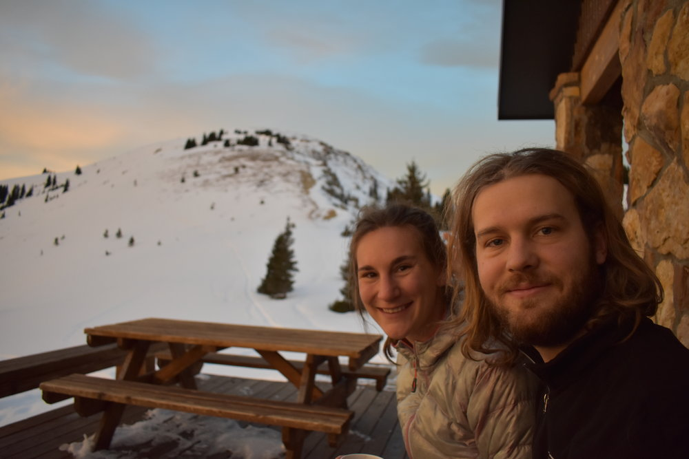 Peter and I, tired bags under our eyes, enjoying the sunrise.