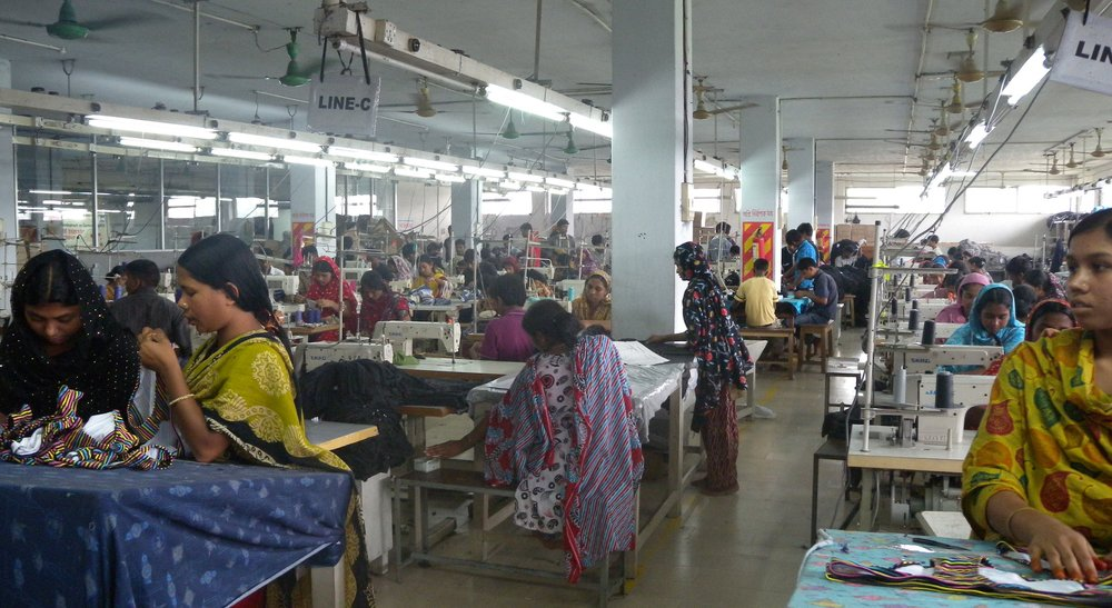A clothing textile garment factory / assembly line in Bangladesh (Not one of Patagonia's). Photo by:  Tareq Salahuddin