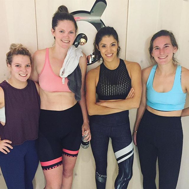 Got to work up a sweat in a live peloton class with these lovely ladies!! #peloton #nyc #girlstrip #didhannahevenbreakasweat
