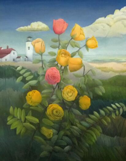 """""""Chatham Roses"""", oil, 2013, 22"""" x 28"""", $900, SOLD"""