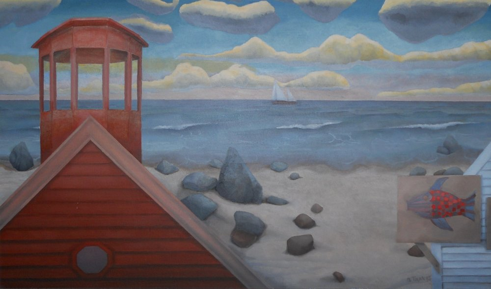 """Seaside"", oil, 2000, 30""x 26"" $900"