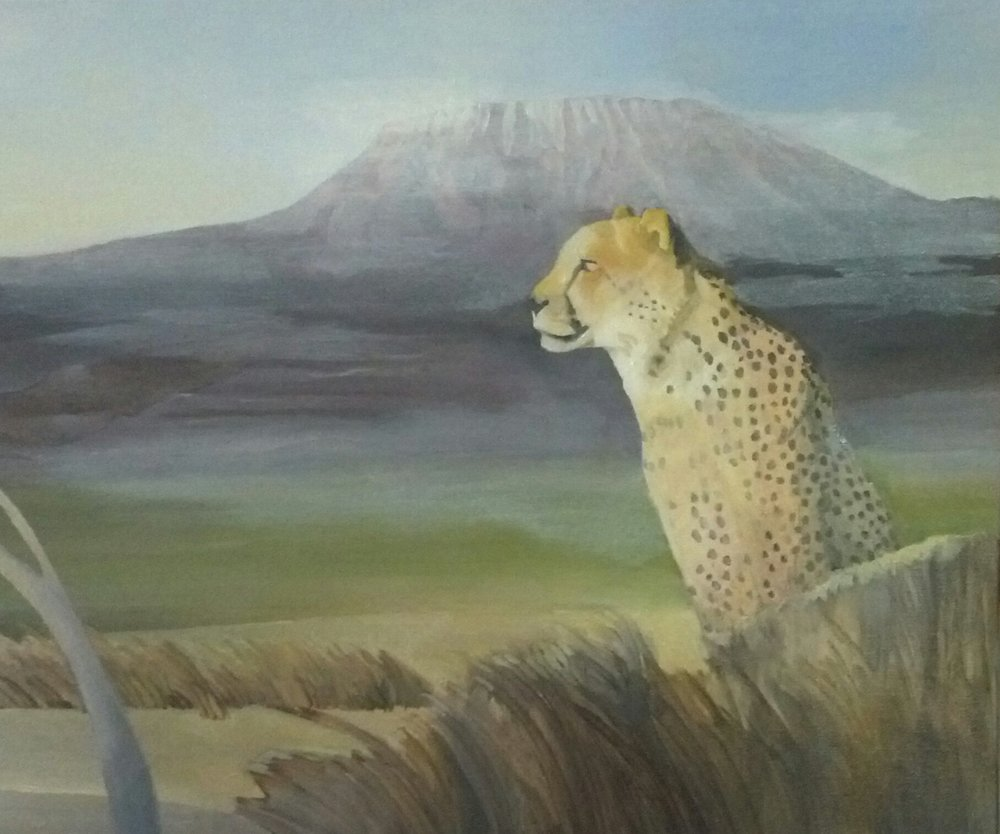 "Untitled, oil, 2016, 24"" x 20"", $900   After I had finished with this painting I read ""The Spotted Sphinx"" by Joy Adamson of ""Born Free"" fame depicting her raising an orphaned female cheetah.  Her depiction of bonding with this cat was emotional which corresponded to my beliefs about Cheetahs in particular."