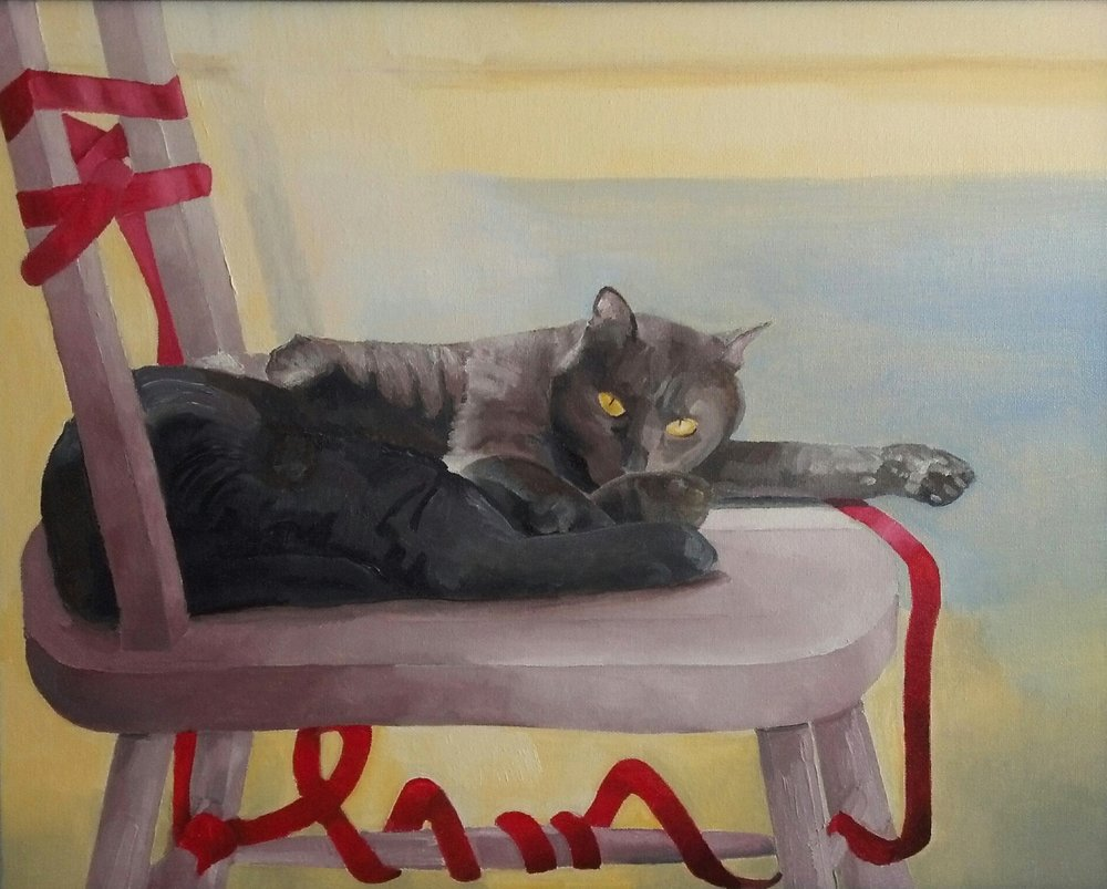 """House Leopard"", oil, 2016, 20"" x 16"", $400   A cat will remind you that he is truly a cat."