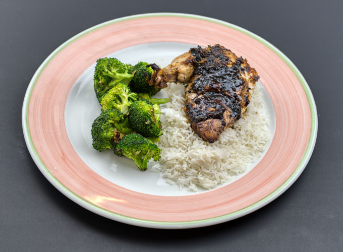 Josh's Orange-Balsamic chicken - with choice of basmati rice, or cauliflower 'rice' plus garlic roasted broccoliNF EF CF. if choose cauliflower rice it's also PR1 Large- $21 (approx. 7-8 oz. skin on chicken breast and winglet, 4 oz. rice, 4 oz. Broccoli)2 Large packed together for one reduced price- $38