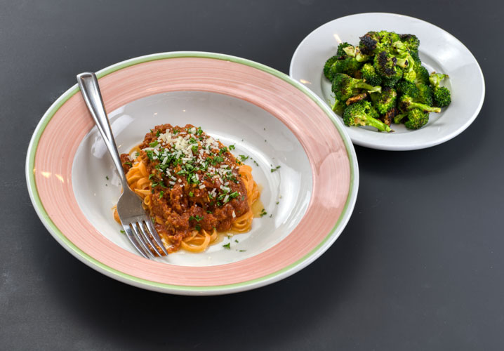 Chicken sausage bolognese sauce - with sweet potato 'noodles' and garlic roasted broccoliP NF KF1 Small- $12 (4 oz. bolognese, 3 oz. noodles, 2 oz. broccoli)1 Large- $18 (6 oz. bolognese, 5 oz. noodles. 3 oz. broccoli)2 Large packed together for one reduced price $34