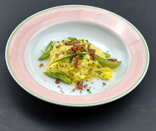 Spaghetti squash carbonara - with a creamy smoky baconand sugar snap pea sauce (vegan option available)NF CF1 Small- $11 (8 oz. spaghetti squash, 2 oz. chopped bacon, 2 oz. sugar snap peas, 3 oz. cheese/egg cream sauce)1 Large- $16 (12 oz. spaghetti squash, 3 oz. chopped bacon, 4 oz. sugar snap peas, 6 oz. cheese/egg cream sauce)2 Large packed together for one reduced price- $28