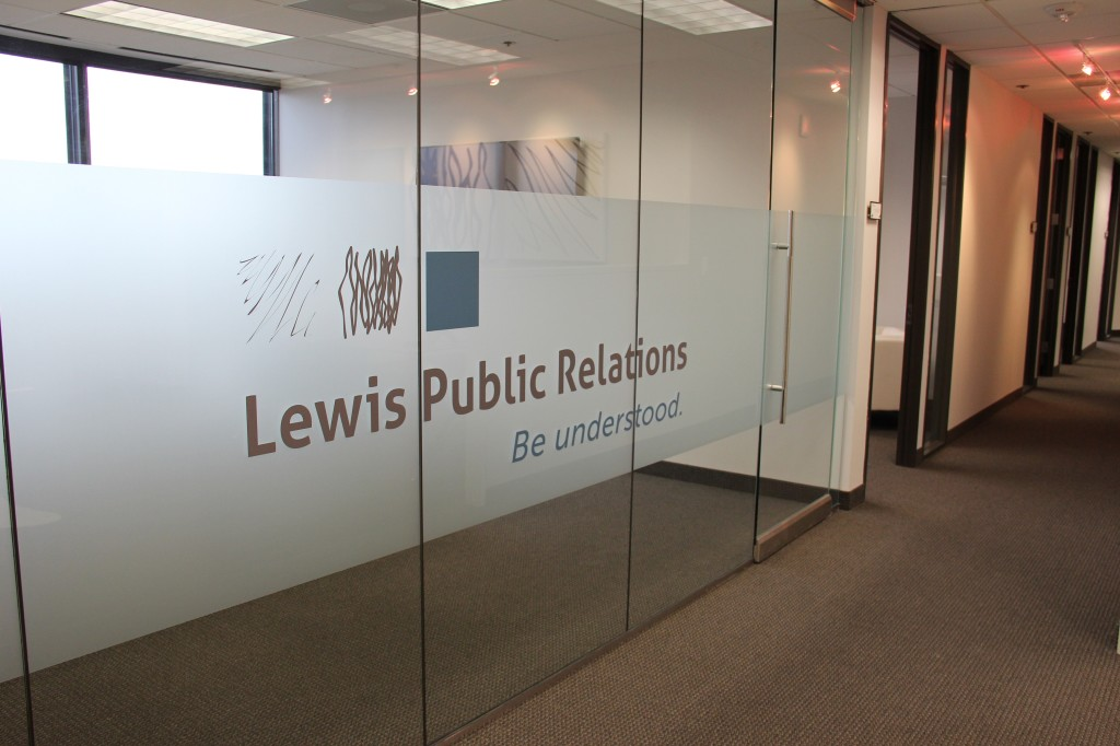 Lewis Public Relations Dallas PR agency - office branding