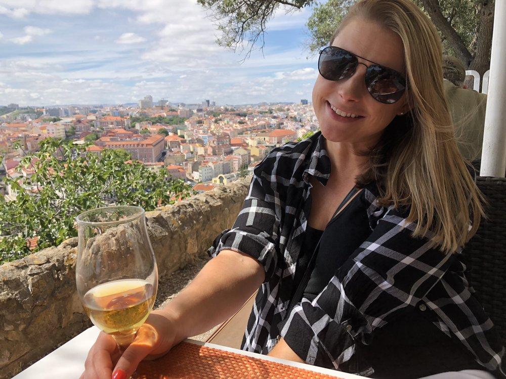 Rooftop drinks at São Jorge Castle in Lisbon.