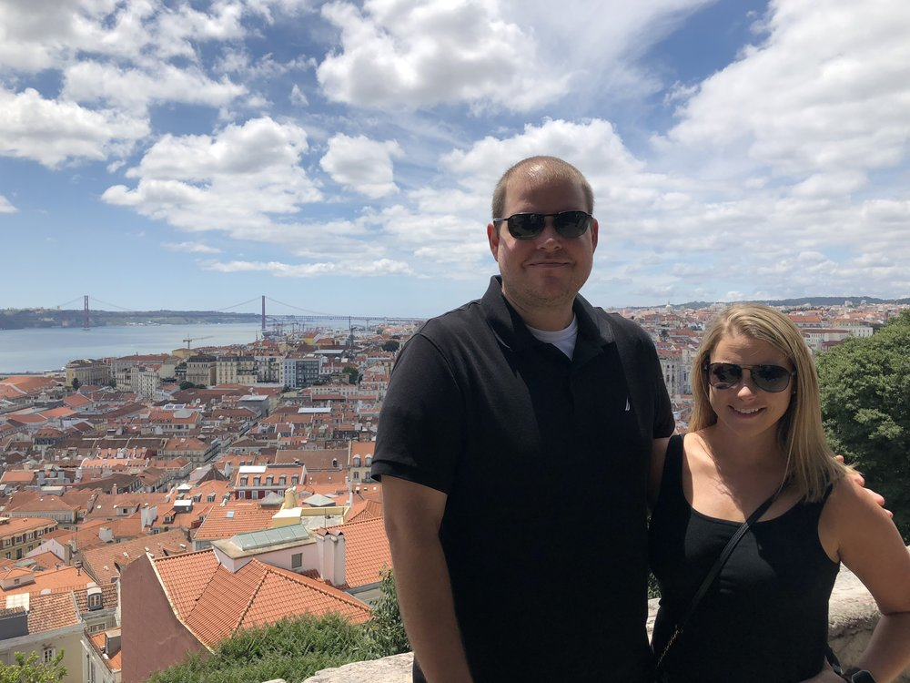 My husband John and I enjoyed the stunning view of Lisbon and the Tagus river from São Jorge Castle.