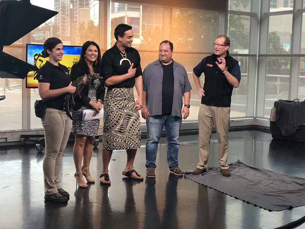 Cast members from Disney's THE LION KING and Dallas Zoo animal handlers present native African animals on the set of Good Morning Texas