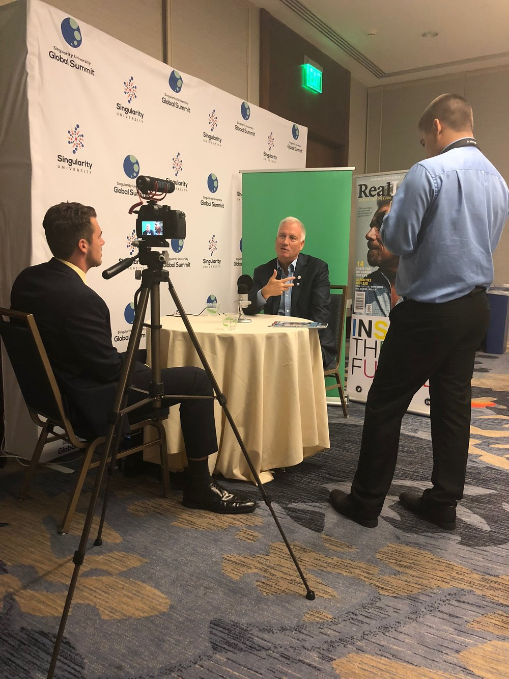 Singularity University's executive chairman, Erik Anderson, is interviewed by media at Global Summit.