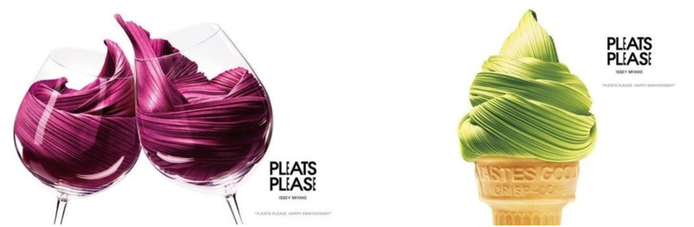 Check out this advertisement for Issey Miyake's Pleats Please clothing line.