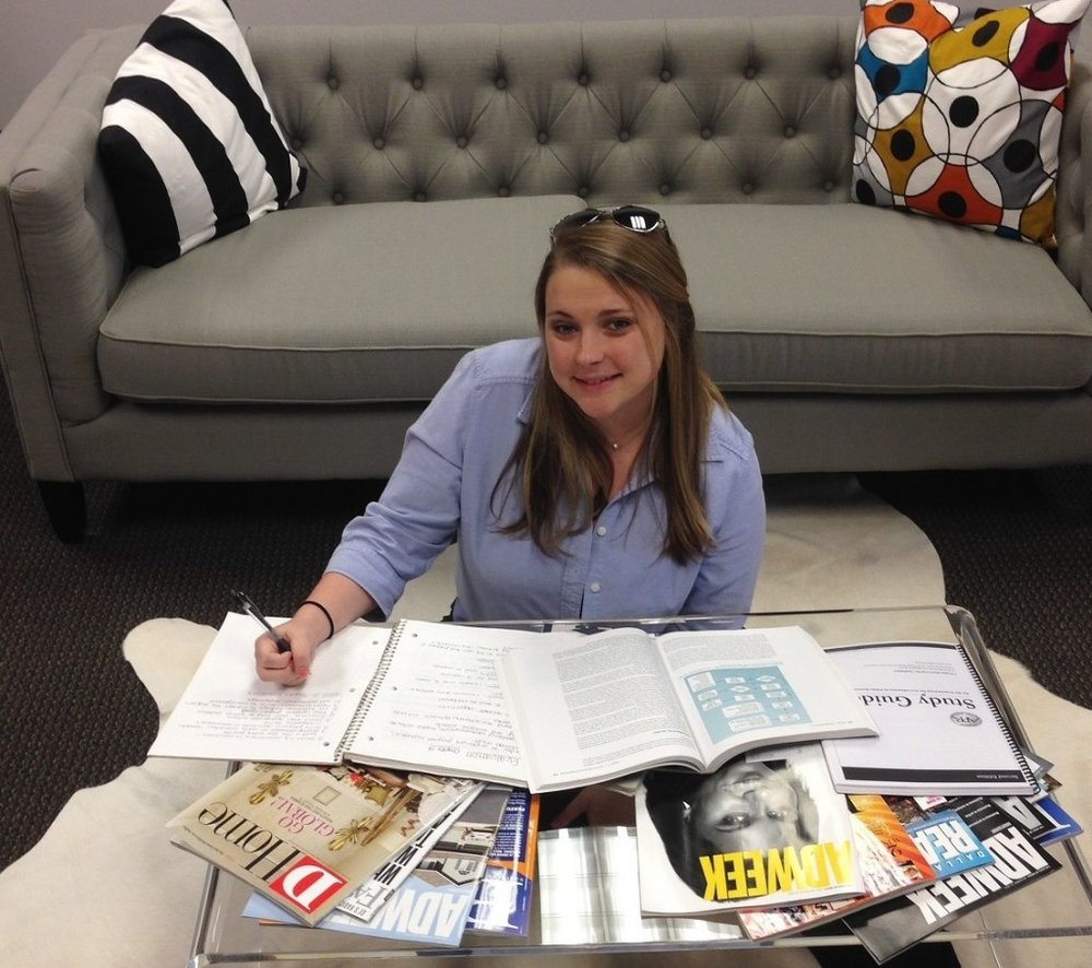 Three Box Director of Operations  Christi Matthys  studies for her APR back in 2015.