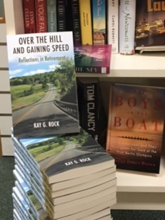 Copies of  Over   The Hill And Gaining Speed  on display at the Doylestown Bookshop.