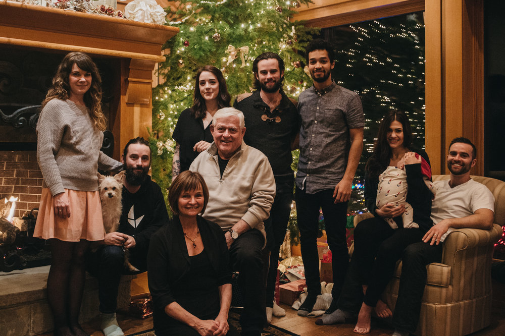 Baby's first Christmas with my husband's side of the fam in Qualicum Beach. Aspen is taking a snooze during the photo sesh....naturally.PS I got engaged in front of that fireplace! :)