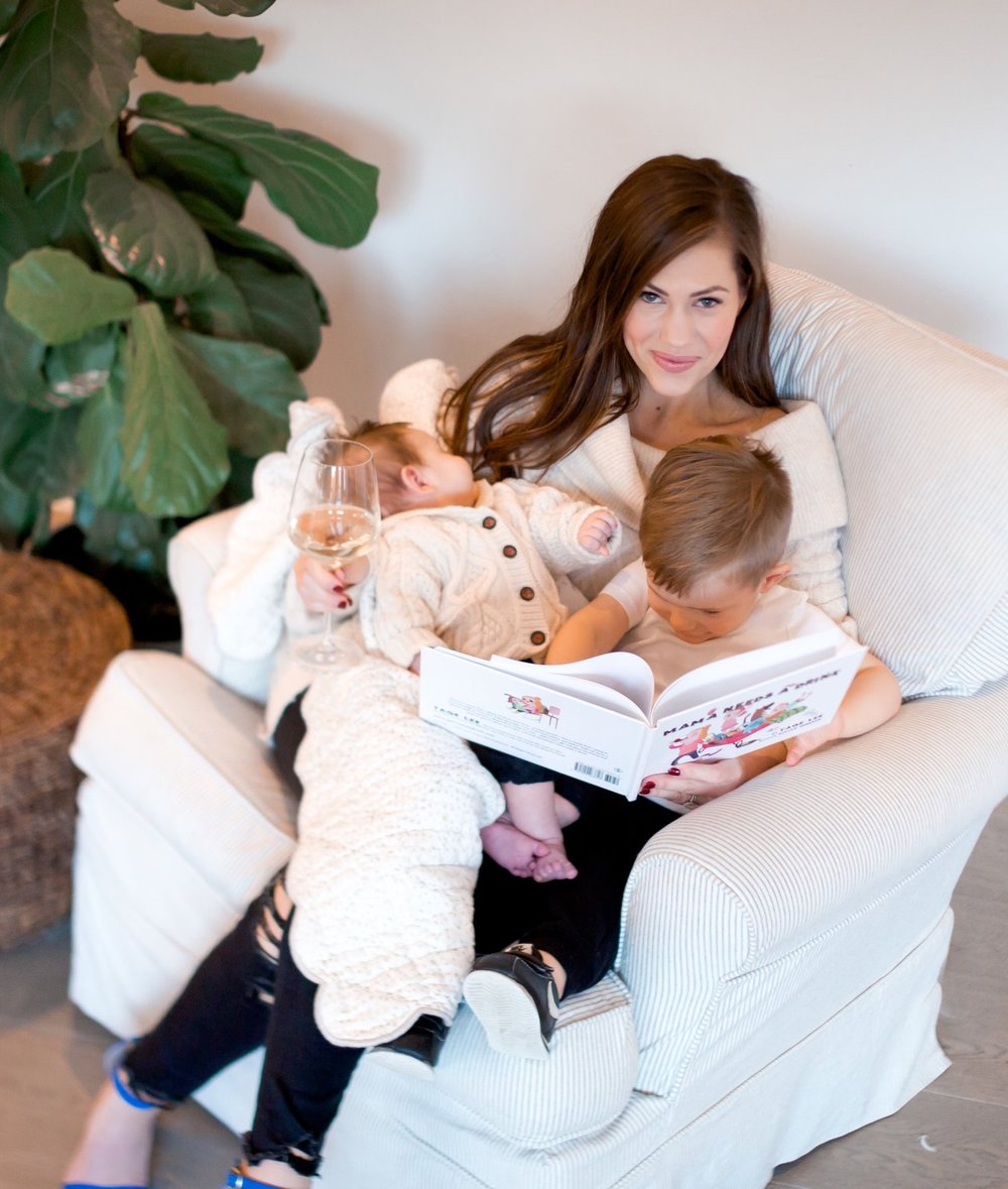 Reading Mama Needs A Drink with both my boys -  Photo by Kerry Lawrence Photography