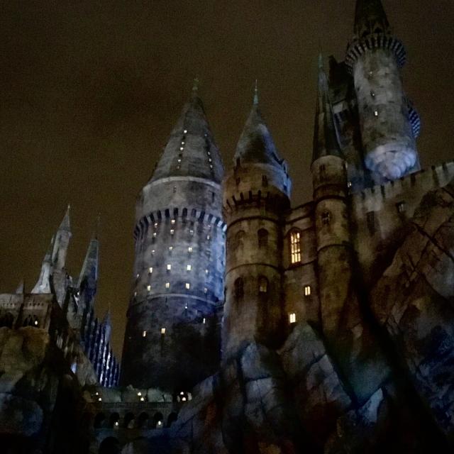 Hogwarts at night.