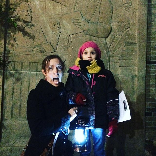 Adèle had the honour of being the designated lantern bearer on our @hauntedwalk ghost tour tonight, and we enjoyed making scared faces when we wrapped up the tour at the MacKenzie House! #ghosttour #toronto #themackenziehouse #thehauntedwalktoronto #spooky #girlsnight #littlemissspooky #somuchfun #oneononetime #fulltimervfamily