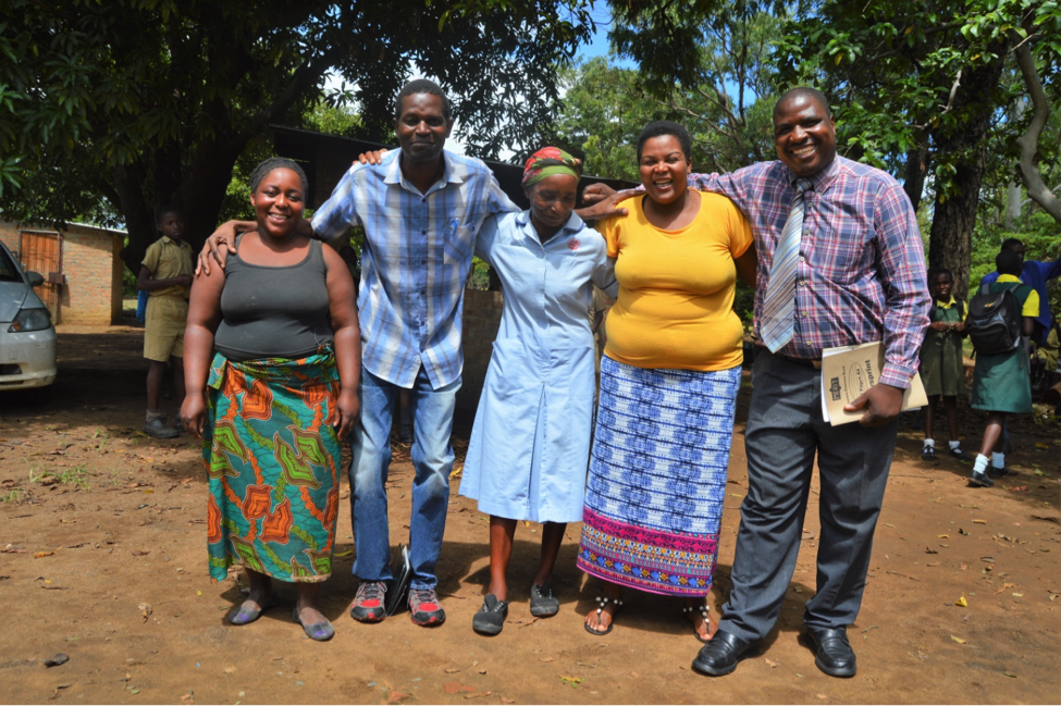 From left: Beauty, Pastor Maxwell, Gogo Green, Catharine –Pastor Maxwell's wife- and Mr Matande –School representative .