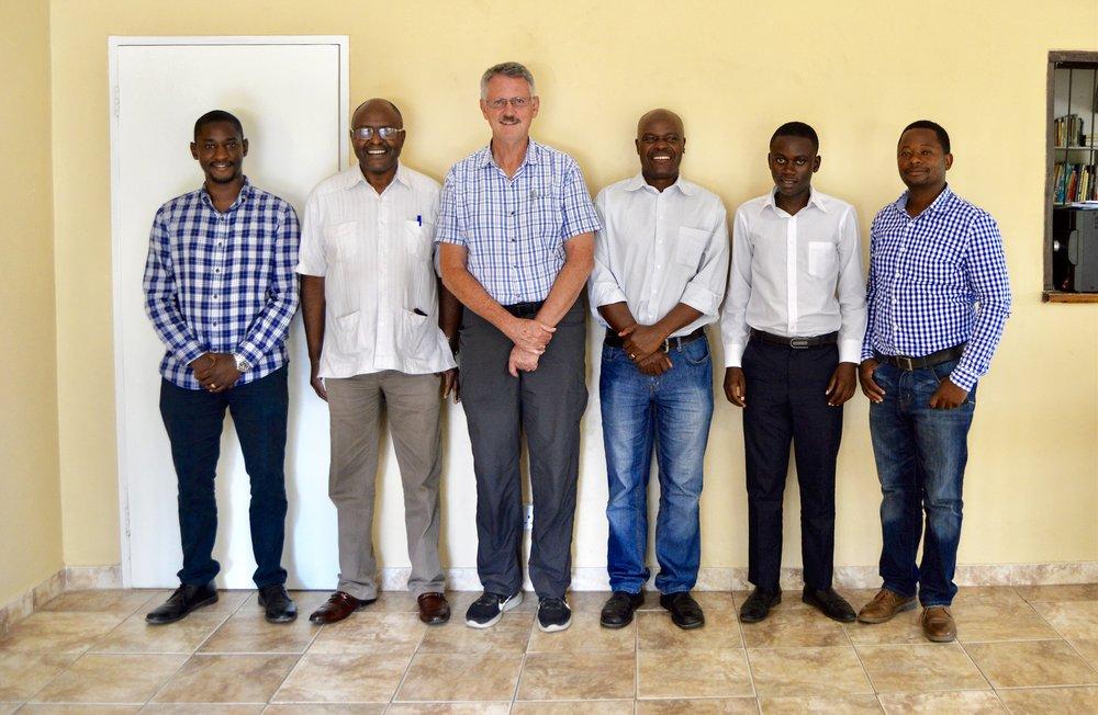 From the left: Tinaye B Nyamuda -Habitation manager, Charles Kaguda -National Director, David Rousseau -HOHT Board Chairman, Collins Mahere - Financial Administrator, John Maungaunga- Financial Administration Assistant, Garikai Masuka -Projects Coordinator.