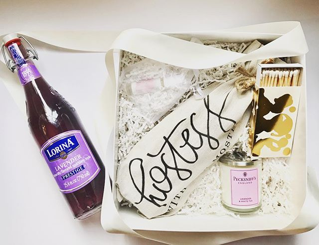 💜💜 A lavender-themed Hostess (with the Mostess) gift complete with French Lavender Soda, Lavender Candle, Lavender Essential Oil & Oversized Matches.💜 #hostessgift #customgift #lavender