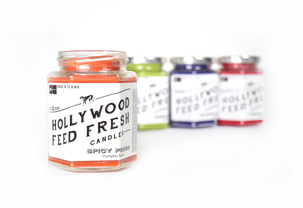Packaging for a range of candles by Hollywood Feed