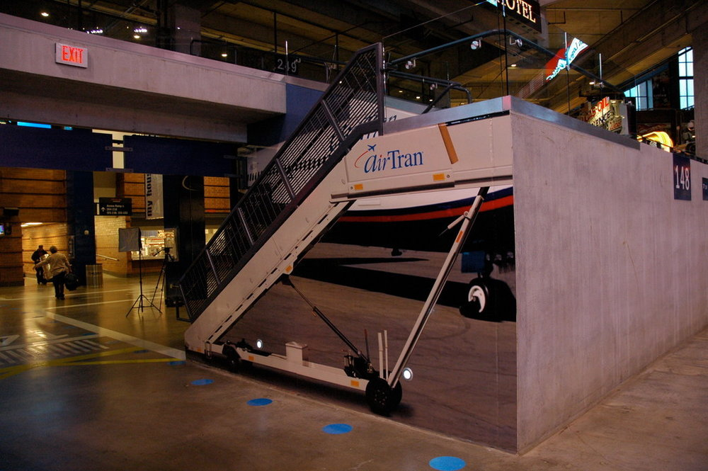 Staircase design for AirTran Airways concourse in Lucas Oil Stadium - Indianapolis, IN