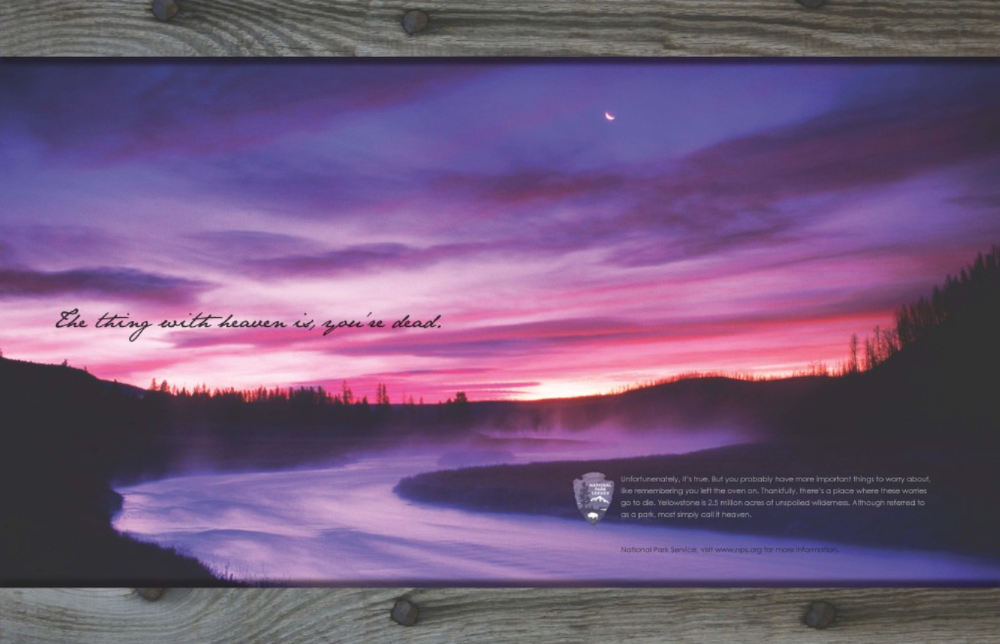 Print ad for Yellowstone National Park