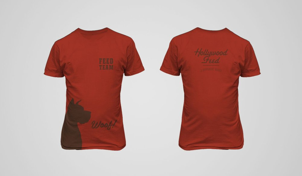 Staff tee shirt design for Hollywood Feed