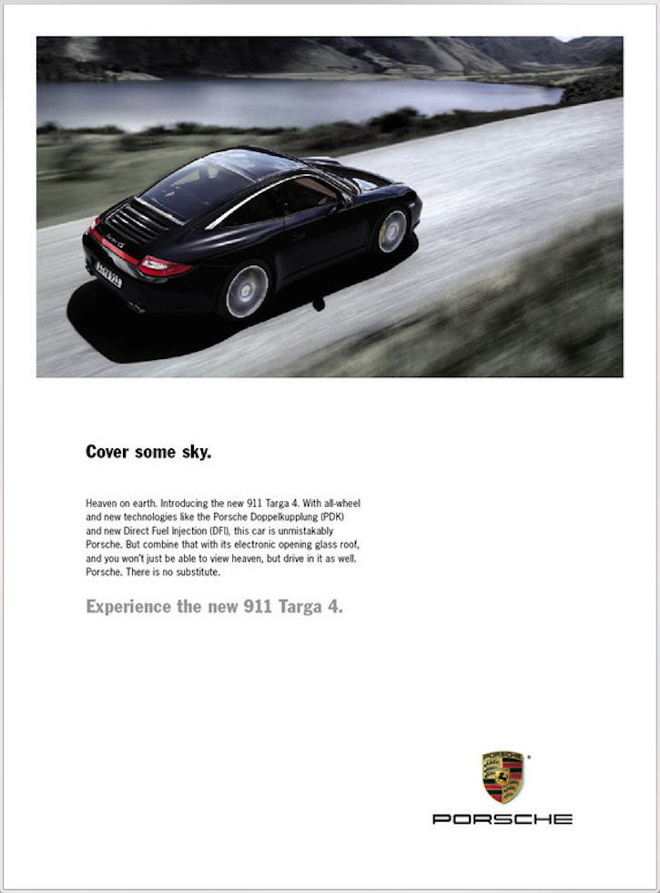 Print ad for the all-sunroof 911 Targa 4.