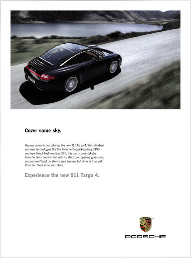 Print ad for the all-sunroof 911 Targa 4.