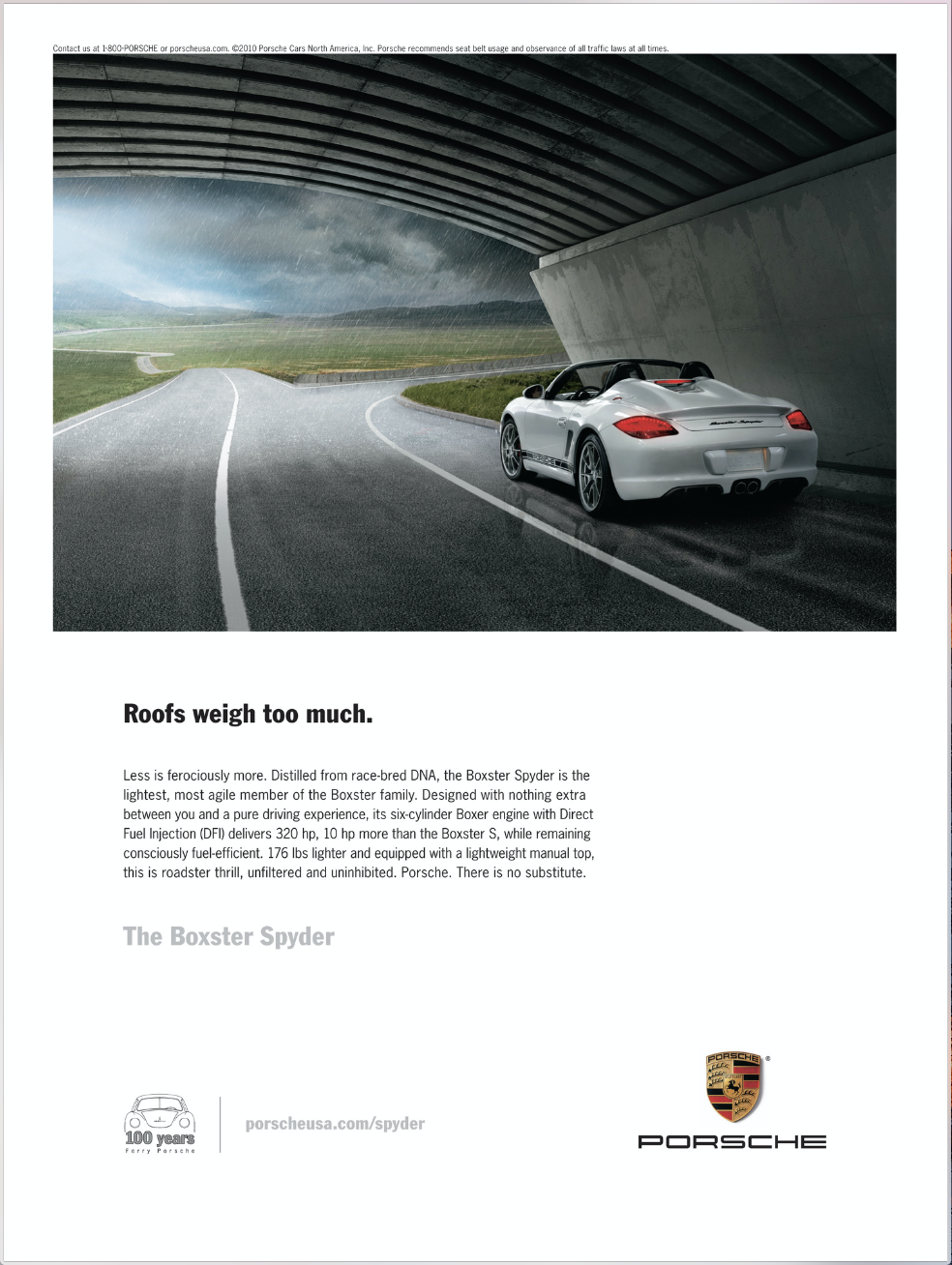 Print ad for the Boxster Spyder.