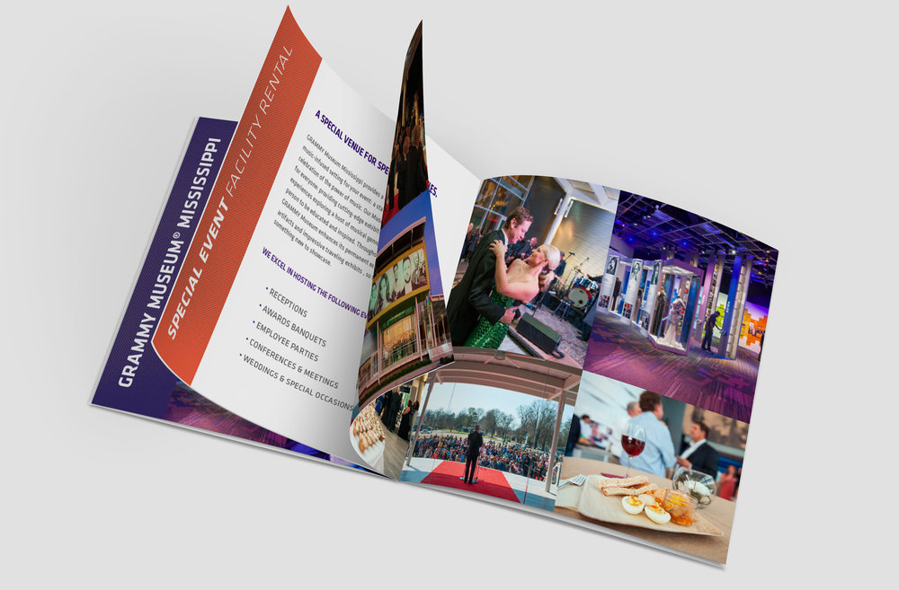32-page book design for Grammy Museum Mississippi highlighting exhibit features, special event facility rentals and educational programming.