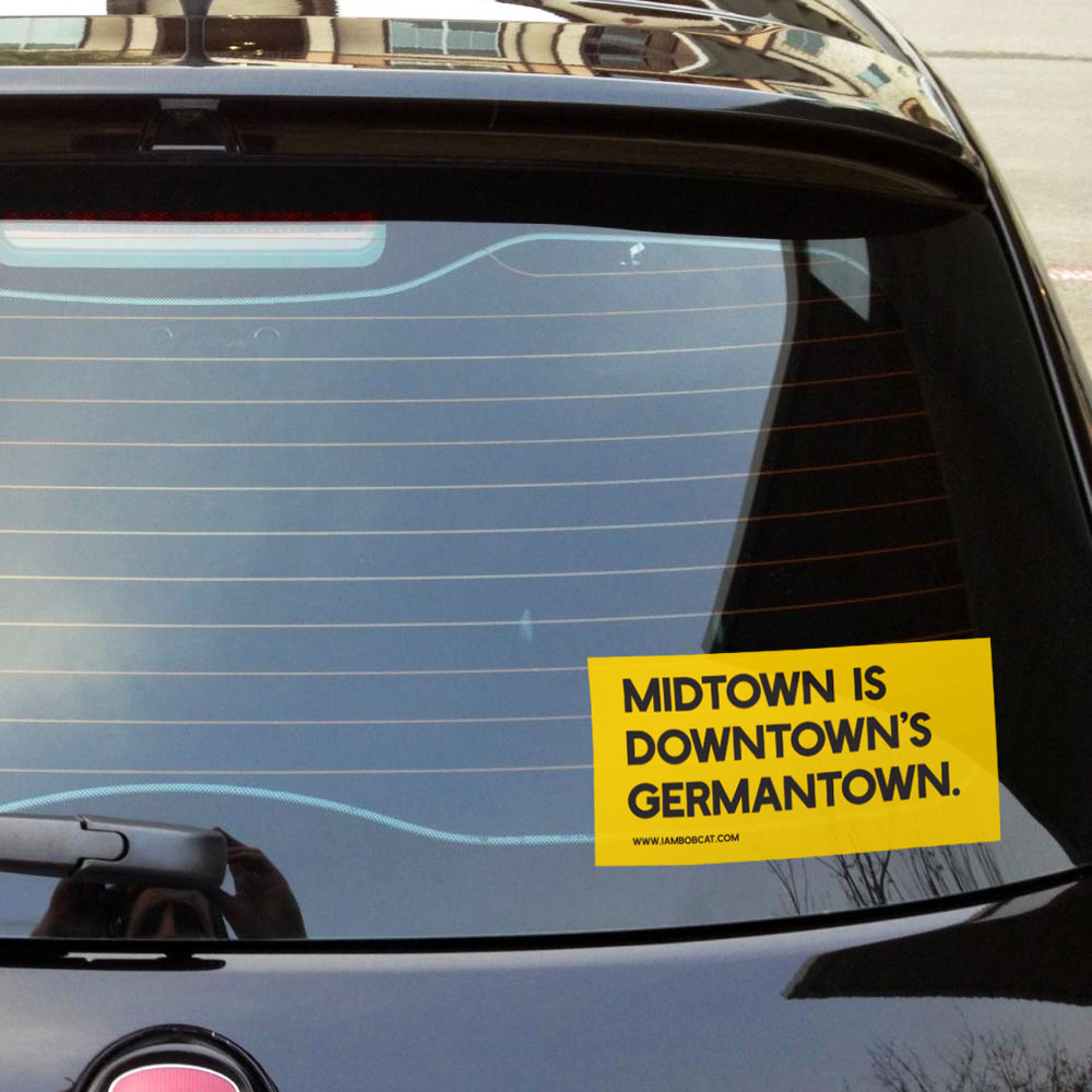 Midtown is downtownu0027s germantown sticker image number 4 of door sticker mockup