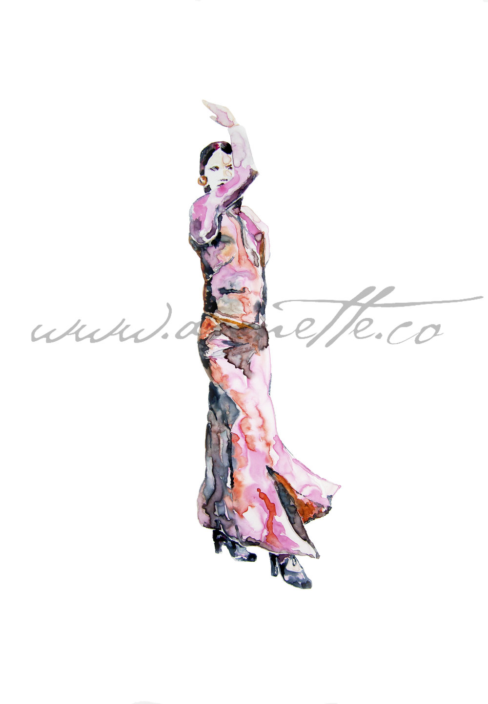"Flamenco Dancer, 11""x14"", watercolour on Yupo paper. Watermark on digital file only"