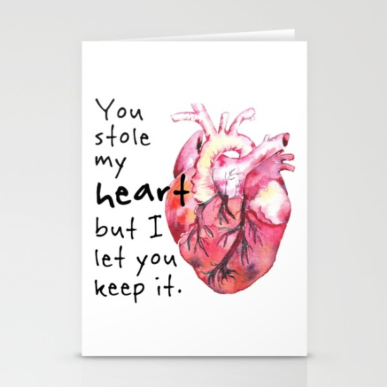 Stolen Heart / Valentine's Day Card / $4 each (minimum 3)