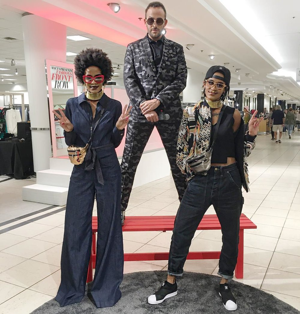 Micah Jesse pictured with designers    Coco & Breezy    at the Macy's Front Row Fashion Event in Minneapolis, Minnesota