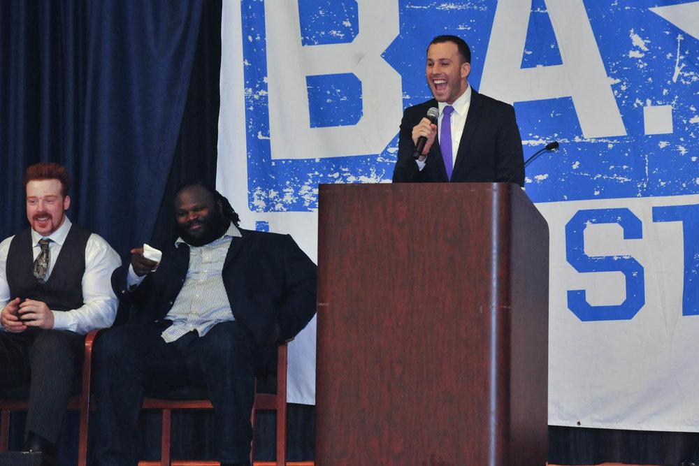 Sheamus Mark Henry Micah Jesse Speech WWE Creative Coalition Be A STAR Bronx Rally.JPG